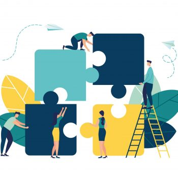 Business,Concept.,Team,Metaphor.,People,Connecting,Puzzle,Elements.,Vector,Illustration